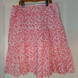 J crew pink floral print skirt size 0